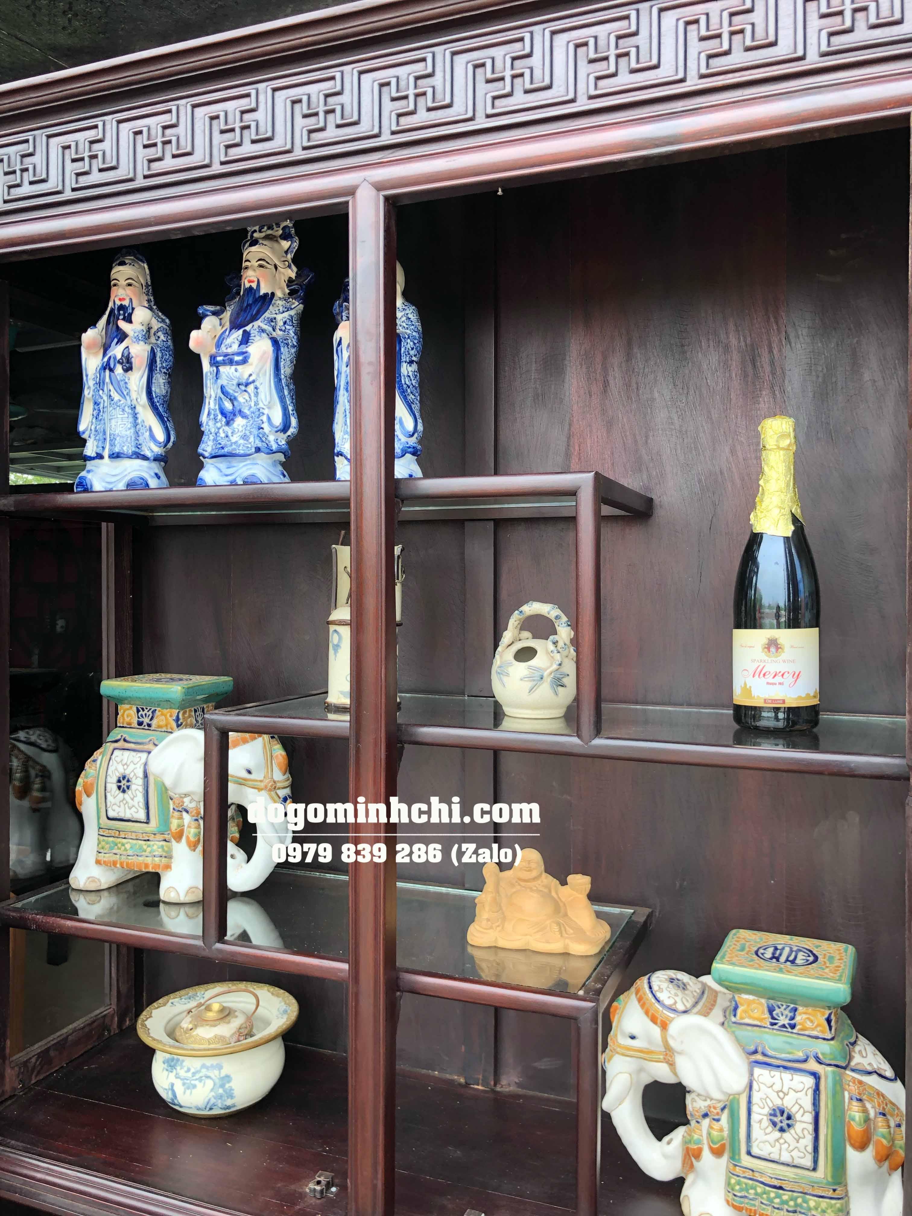 Tủ Trưng Bày Đồ Cổ - Bày Rượu - Chạm Tùng Mai