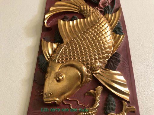 Tranh Cá Chép Sơn Thiếp Vàng